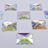 Rechthoek 13x18mm Crystal AB - Acryl Naaisteen_