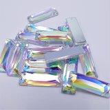 Rechthoek Vlak 6x15mm Crystal AB - Acryl Naaisteen_