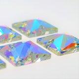 Vierkant 16x16mm Crystal AB - Glas Naaisteen_