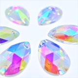 Druppel 17x28mm Crystal AB - Glas Naaisteen_