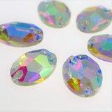 Ovaal 10x14mm Crystal AB - Glas Naaisteen_