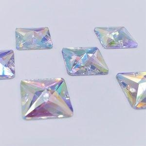 Vierkant 14x14mm Crystal AB - Acryl Naaisteen