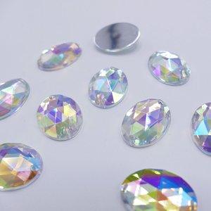 Ovaal 10x14mm Crystal AB - Acryl Naaisteen