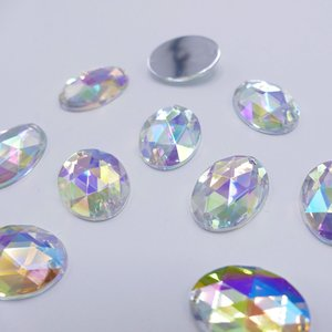 Ovaal 15x21mm Crystal AB - Acryl Naaisteen