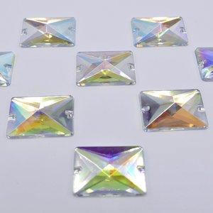 Rechthoek 13x18mm Crystal AB - Acryl Naaisteen