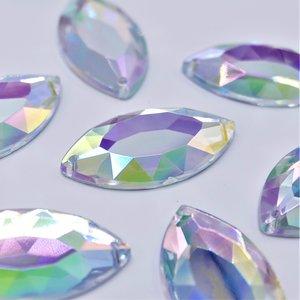 Paardenoog 17x32mm Crystal AB - Acryl Naaisteen