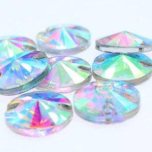 Rivoli 14mm Crystal AB - Glas Naaisteen