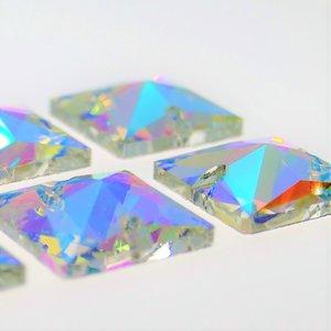 Vierkant 16x16mm Crystal AB - Glas Naaisteen
