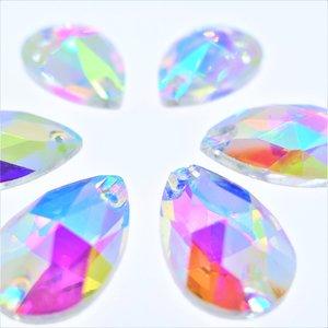Druppel 11x18mm Crystal AB - Glas Naaisteen
