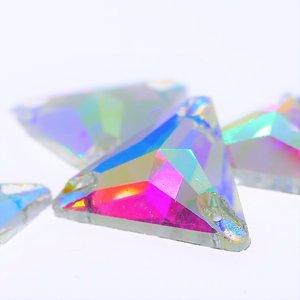 Driehoek 16mm Crystal AB - Glas Naaisteen