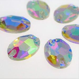 Ovaal 10x14mm Crystal AB - Glas Naaisteen