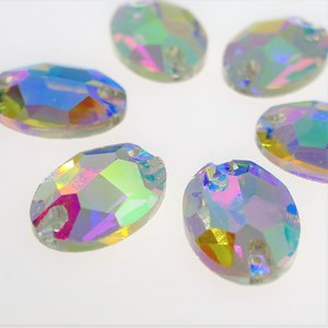 Ovaal 11x16mm Crystal AB - Glas Naaisteen